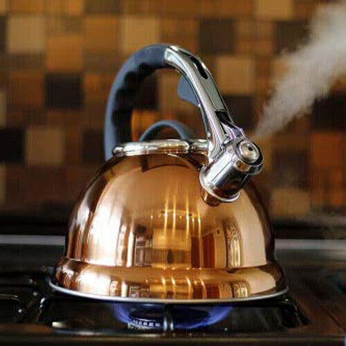 Voche® 3.5 Litre Copper Stainless Steel Whistling Stovetop Kettle | Suitable for Electric, Gas and Induction Hobs