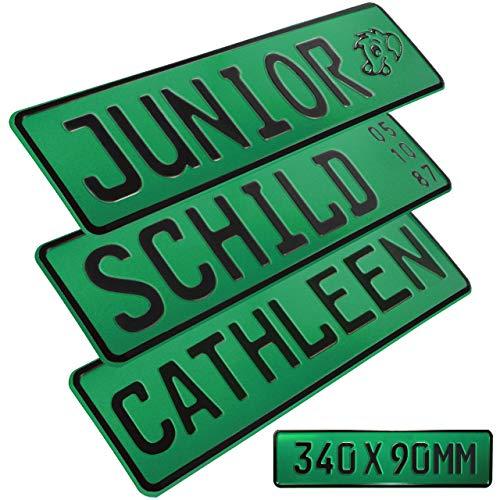 1 Stück Kennzeichen Junior-Schild 34cm x 9cm Bohrung Farbwahl Wunschtext Wunschprägung Muster Datum Namenskennzeichen Bohrung / Saugnäpfen Namensschild Bobbycar Kettcar FUN Schild in Grün