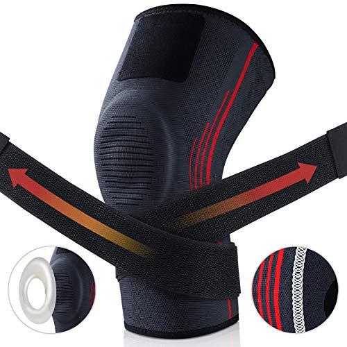 AK KYC Kniebandage Kompressionsknieschützer, rutschfeste Unterstützung für Laufen, Basketball, Stabil mit Arthritisknochen, Meniskusriss, ACL,Schmerzlinderung, Wiederherstellung von Verletzungen(M)