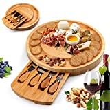Bamboo Cheese Board and Knife Set, Cheese Charcuterie Platter Board Serving Tray With Slide-out...