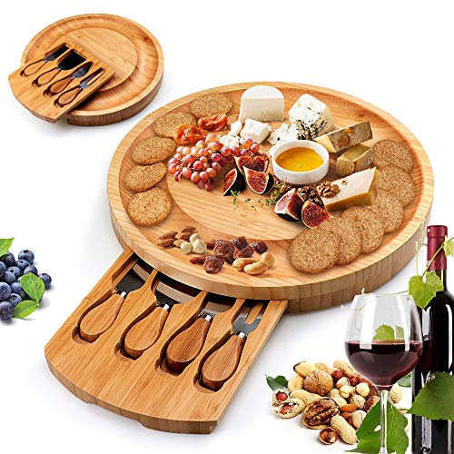 Bamboo Cheese Board and Knife Set, Cheese Charcuterie Platter Board Serving...