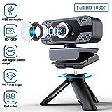 ELTD Caméra Web Webcam 1080P Full HD USB 2.0 avec Microphone de réduction du Bruit intégré, caméra Web Portable pivotante à 360 degrés 【avec Support】, pour Ordinateur/PC, Noir