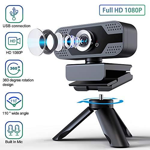 ELTD Webcam 1080P mit Mikrofon, PC Laptop Desktop USB Full HD 1080P Webkamera für Videoanrufe, Studieren, Konferenzen (Schwarz)