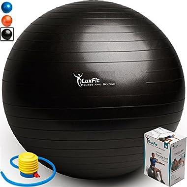 LuxFit Exercise Ball, Premium Extra Thick Yoga Ball '2 Year Warranty' - Swiss Ball Includes Foot Pump. Anti-Burst - Slip Resistant! 45cm, 55cm, 65cm, 75cm, 85cm Size Fitness Balls (Black, 75cm)