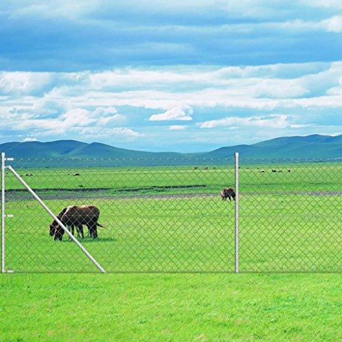 Tidyard Anslutande trädgård/uppfart pollare galvaniserad kedjelänk staket med ankarspik för post 15 x 1 m