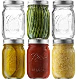 Ball Regular Mouth Mason Jars (16 oz/Capacity) [12 Pack] with Airtight lids and Bands. For Canning, Fermenting, Pickling - Store & Decor - Microwave & Dishwasher Safe. Bundled With SEWANTA Jar Opener