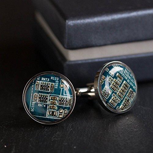 Recycled Shaltungsplatine (circuit board) Manschettenknopf, rund, Blau