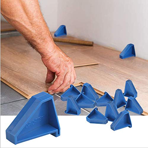 Flooring Spacers,Laminate Wood Flooring Tools(12 Pack),Compatible w/Vinyl Plank, Hardwood & Floating Floor Installation etc,Hardwood Flooring w/1/4 Gap,Special Triangle Stay in Place
