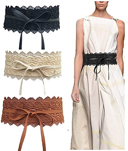 AOIO Frauen-Spitze-Gurt-Bogen-Riegel-Verpackungs-Kunstleder Boho Band-Korsett Weitselbstriegel-Verpackungs-Mode Gürtel Für Kleid 3er-Pack