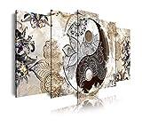 DekoArte 473 - Cuadros Modernos Impresión de Imagen Artística Digitalizada | Lienzo Decorativo Para Tu Salón o Dormitorio | Estilo Ying Yang Abstractos Zen Colores Beig Marrón | 5 Piezas 200x100cm XXL