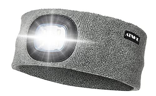 ATNKE LED Pañuelos para la cabeza Luz, USB Recargable Running Hat Lámpara de luz Impermeable a Prueba de Agua con 4 LED Ultra Brillante y Faro de Alarma Grey