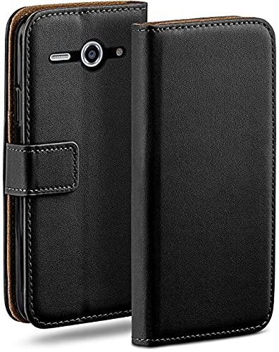 moex Klapphülle kompatibel mit Huawei Ascend Y530 Hülle klappbar, Handyhülle mit Kartenfach, 360 Grad Flip Hülle, Vegan Leder Handytasche, Schwarz