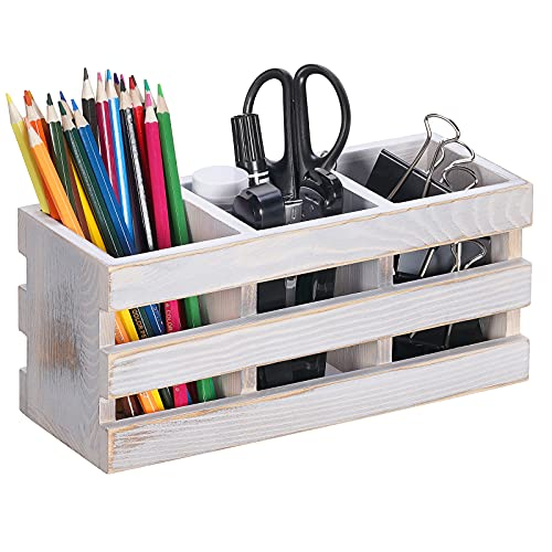 Snughome Rustic Wooden Office Desktop Organizer with 3 Compartments, Desktop Office Supplies Organizer Storage Holder for Mails, Pens, Notebooks, Folders, Pencils or Makeup Tools (Rustic White)