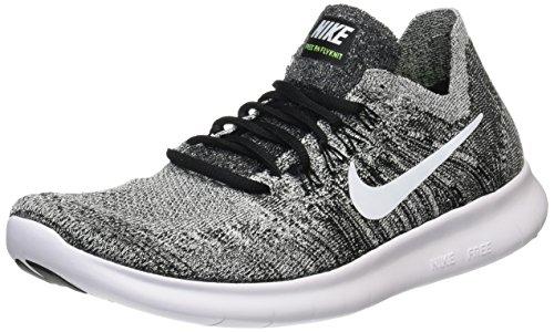 Nike Free Rn Flyknit 2017, Zapatillas de Running Hombre, Negro (Black/white-volt), 45.5 EU