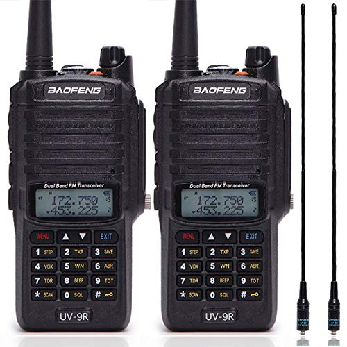 2 Pack Baofeng UV-9R 136-174/400-520MHZ VHF/UHF Dual Band Dustproof Waterproof IP67 Transceiver Portable Ham Two Way Radio with NA-771 Antenna