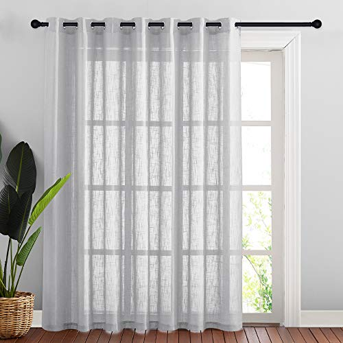 NICETOWN Linen Look Curtains for Patio - Extra Wide Grommet Top Semi Voile Drape Sheer Panel for Living Room/Sliding Glass Door, Light Grey, W100 by L84 inches, 1 Panel