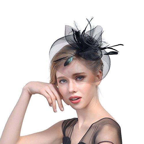 JZK Negro Tocado Vendimia Diadema Fascinator Malla Pluma Sombrero con Pinzas para Mujer Fiesta Boda Coctel Gala fotógrafo