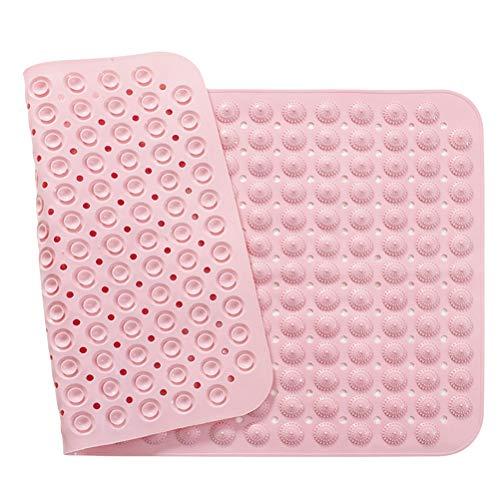 1 tapete de piso de PVC durável para pés de banheiro antiderrapante tapete para pés de chuveiro (rosa)