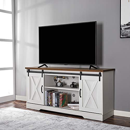 """Amerlife TV Stand Sliding Barn Door Modern&Farmhouse Wood Entertainment Center, Storage Cabinet Table Living Room with Adjustable Shelves for TVs Up to 65"""", Distressed White&Rustic"""