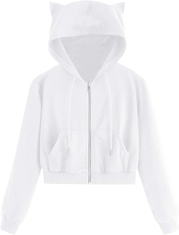 Eduavar Womens Hoodies,Women Teen Girls Fashion Cat Long Sleeve Crop Top Hoodie and Sweatshirt with Zippers Outwear Tops