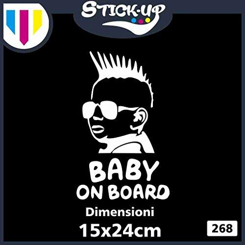 Sticker Autocollant Baby in Car - Enfant à Bord - Baby on Board - Dimensions 15 x 24 cm - Autocollant Tuning Lunette Voiture Moto Custom Sticker Enfant Fille à Bord Blanc