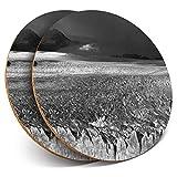 Posavasos redondos de vinilo de Destination Ltd (juego de 2) BW – Cool Perito Moreno Glaciar Argentina Bebida Brillante Posavasos / Protección de mesa para cualquier tipo de mesa #41651
