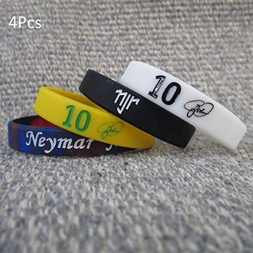 Wanjun Material Silicona, Pulsera Blanca con Efecto Luminoso, Neymar, Talla 10, Pulsera, Aficionado Al Fútbol