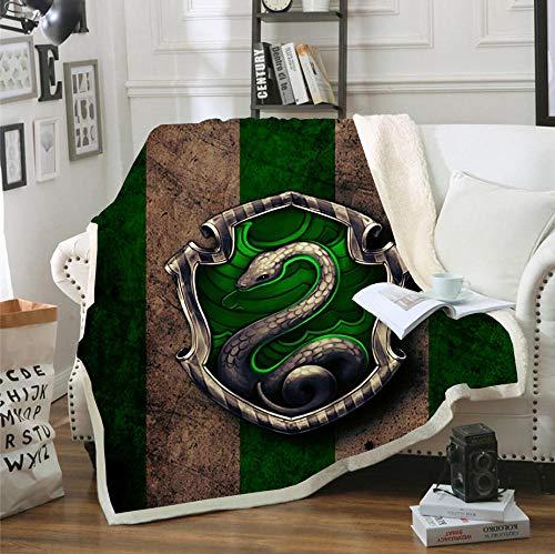 HYQDD Kuscheldecke Flanell Fleecedecke 3D Slytherin-150x200cm weiche Tagesdecke/Sofadecke/Wohndecke/Schlafdecke/flauschig weiche Wohndecke für Erwachsene & Kinder