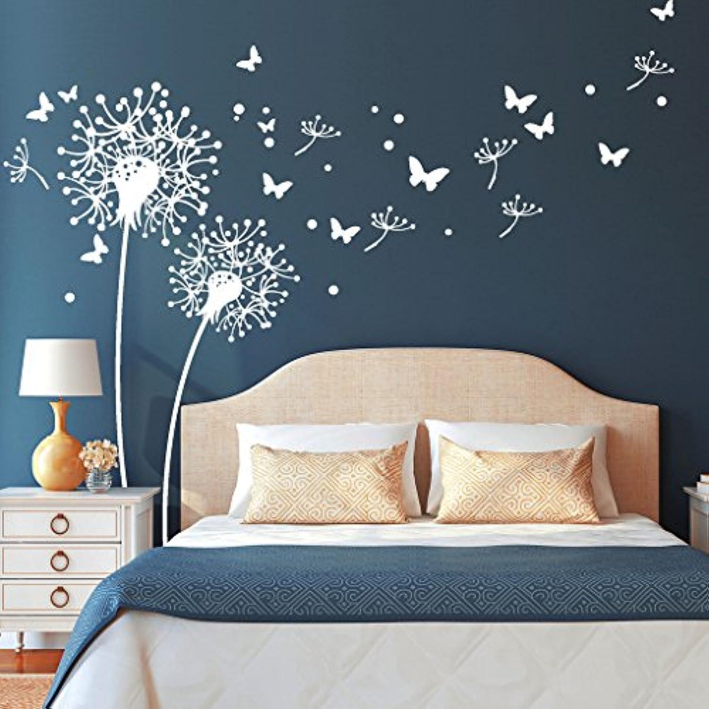 Wandtattoo Loft  Zwei PusteBlaumen mit fliegenden Pollen und Schmetterlingen    Lwenzahn   Dandelion   Schlafzimmer   Wandsticker   Wandaufkleber   54 Farben   3 Gren   wei   254 cm breit x 197 cm hoch