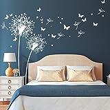 Wandtattoo-Loft 'Zwei Pusteblumen mit fliegenden Pollen und Schmetterlingen/Löwenzahn/Dandelion/Schlafzimmer/Wandsticker/Wandaufkleber / 54 Farben / 3 Größen/weiß / 211 cm breit x 164 cm hoch