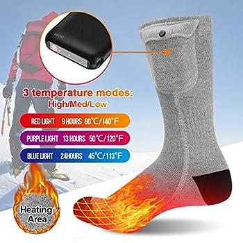 MECO Chaussettes Chauffantes 3.7 V 4000 mAh 24 Heures Durable 3 Réglages de Chauffage Chaussettes à Pile Électriques Rechargeables Chauffe-Pieds pour Femme Homme/Cyclisme Intérieur Motocyclisme L