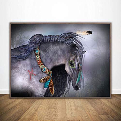 BailongXiao Moderne Plakate und Drucke des nordischen Wohnzimmers verziert mit Wandgemälde-Wandmalerei-Wand des Cartoonpferdes,Rahmenlose MalereiCJX3513-30X45cm
