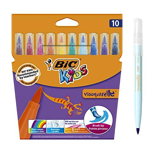 BIC Kids visaquarelle, 10 Pinsel-Fasermaler für Kinder, Stift mit flexibler Pinselspitze und Austrocknungsschutz