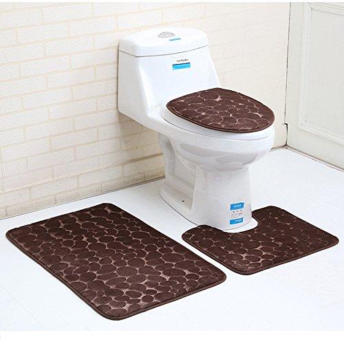 ele ELEOPTION Lot de 3 tapis de bain antidérapants en mousse à mémoire de forme respirante, absorbante, douce et confortable, Velours, Lot de 3 - Couleur : marron, 50 x 80 cm