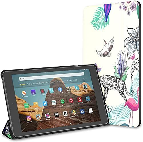 Estuche para Tableta Zebra Leopard Cute Animal Fire HD 10 (9.a / 7.a generación, versión 2019/2017) Estuche para Tableta HD Fire 10 Estuche para Kindle Fire Auto Wake/Sleep para Tableta de 10.1 pul