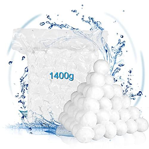 VAZILLIO 1400g Bolas Filtro para Piscina,Remplazar para Depuradora Piscina y Acuario & 50kg de Arena filtrada, Puede Filtrar Bacterias y Algas
