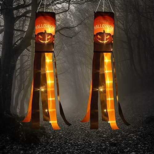 2 Packungen Halloween Kürbis Windsack Flagge mit Warmen Gelben LED Lichtern Outdoor Happy Halloween Hängend Dekor für Yard Terrasse Garten Weg Party Dekoration