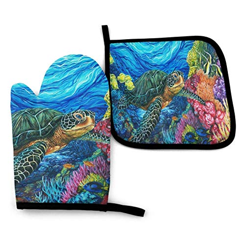 OPO-T Ofenhandschuhs and Topflappens Set,Sea Turtle Heat Resistant Oven Glove, Soft Cotton Lining for Kitchen Baking BBQ