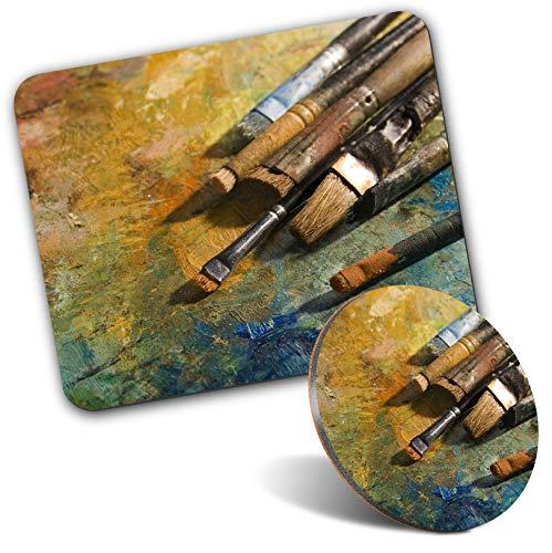 Juego de alfombrillas rectangulares para ratón y posavasos redondos, pinceles para pintor, pintor, 20 cm y 9 cm, para ordenador y portátil, oficina, regalo, base antideslizante #14186