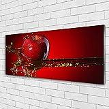 Tulup Impression sur Verre de 125x50 cm - Image - Tableau - Photo décorative panoramique - Cuisine Pomme Eau