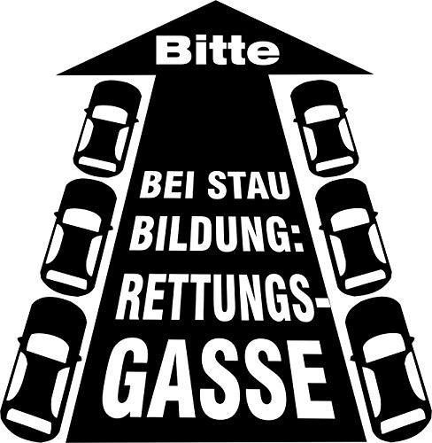 Bitte – Bei Staubildung: Rettungsgasse // Autoaufkleber // (Silber - 150 mm x 150 mm)