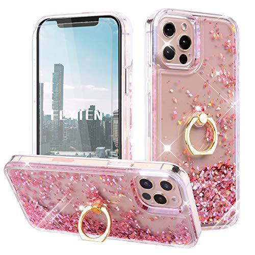 Feyten Funda para iPhone 12 Pro MAX [2-Unidades Cristal Vidrio Templado],Glitter Moda 3D Bling Flowing Liquida Flotante Sparkly Brillante Carcasas para iPhone 12 Pro MAX (6,7 Pulgadas) (Oro Rosa)