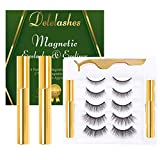 Delelashes 3D Magnetic Eyeliner with Eyelashes Kit,Upgraded Magnetic False Lashes with Different Lengths and Densities, Natural and Reusable Eyelashes,No Glue Needed (5 Pairs)