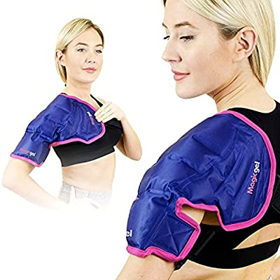 Magic Gel Shoulder Ice Pack - Reusable, Flexible and Long Lasting. Ice Pack for Rotator Cuff Injuries, Bursitis and Swelling. Hot or Cold Therapy Compression Wrap for Left or Right Shoulder - Large from Magic Gel