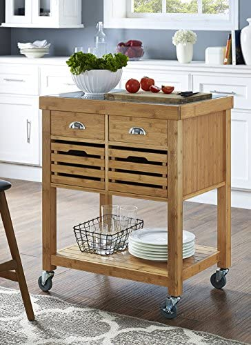 Boraam Kenta Bamboo Kitchen Cart with Stainless Steel Top product image