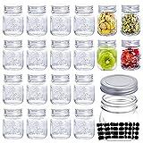 6oz Glass Jars With Lids,Spice Jars,Small Mason Jars Regular Mouth,Mini Canning Jars For Honey,Jam,Jelly,Baby Foods,Wedding Favor,Shower Favors, Set of 20