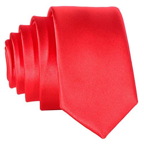 DonDon Corbata estrecha brillada 5 cm de color rojo - hecho a mano