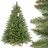 FairyTrees Arbre Sapin Artificiel de Noêl EPICÉA Naturel, Tronc d'arbre Vert, Matière PVC, Socle en Bois, 150cm