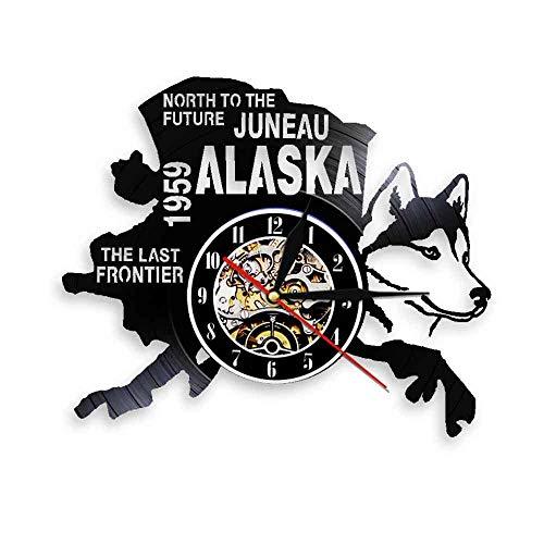 GVSPMOND Reloj de Pared con Disco de Vinilo Reloj de Pared con Paisaje Urbano Reloj de Norte a Futuro Reloj de Pared Decorativo con diseño de Perro de Alaska