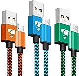 Câble Micro USB [2m / Lot de 3] Câble Chargeur Android Nylon Tressé Chargeur Charge Rapide pour...